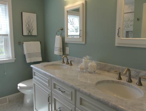 Monkton Sage Green Carrera Marble Bathroom