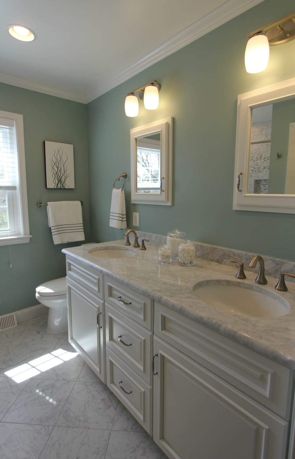 Home Marble Bathroom Remodel in Sage Green