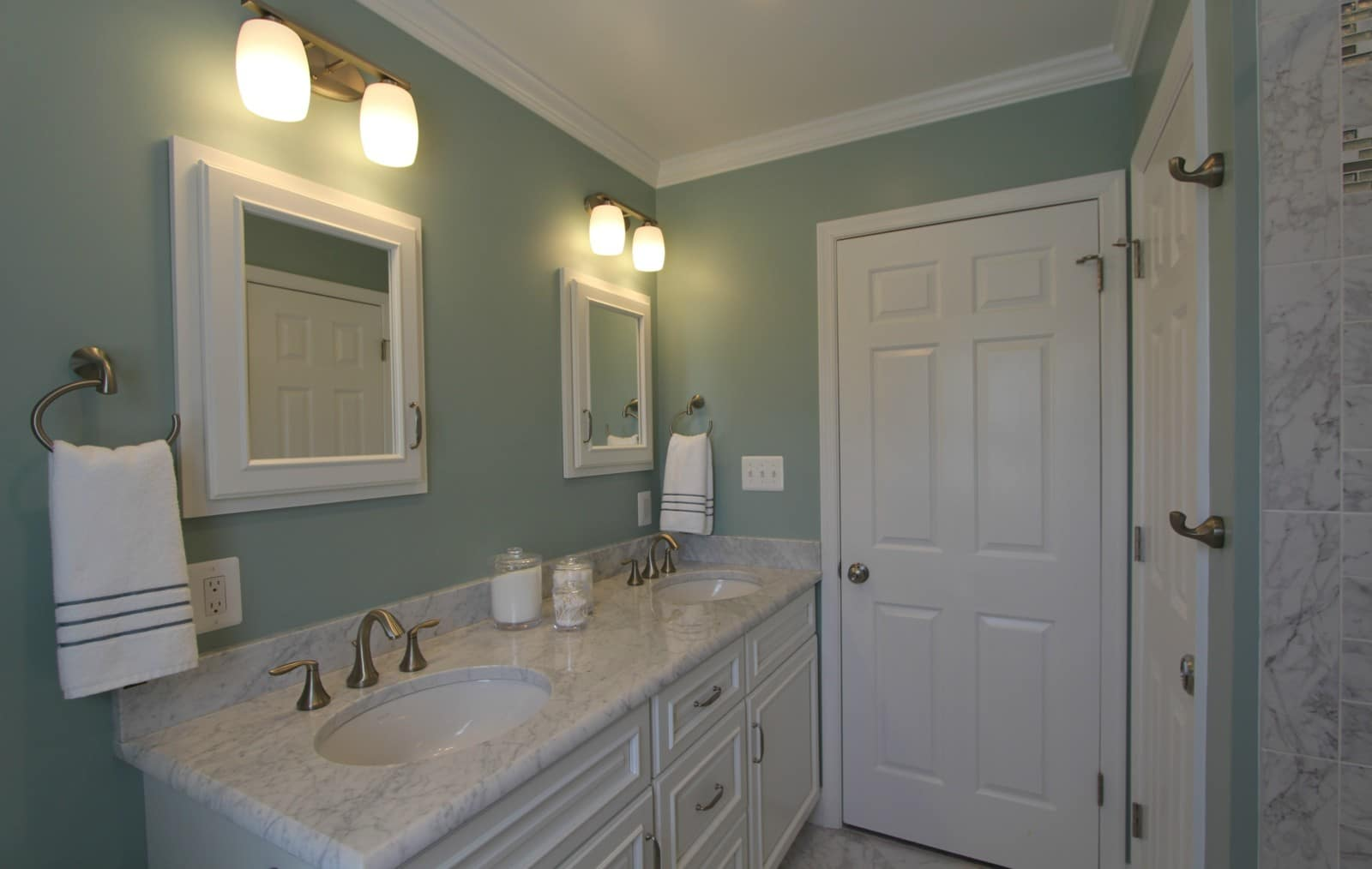 Carrera Marble Bathroom | Bathroom Remodeling Sage Green Carrera Marble Taylor Made