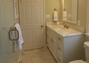 Remodeled Bathroom w/ Untraditional Medicine Cabinet