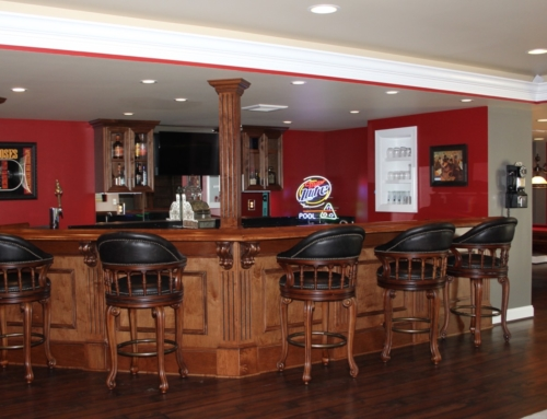 Finished Basement With Completely Custom Bar Area