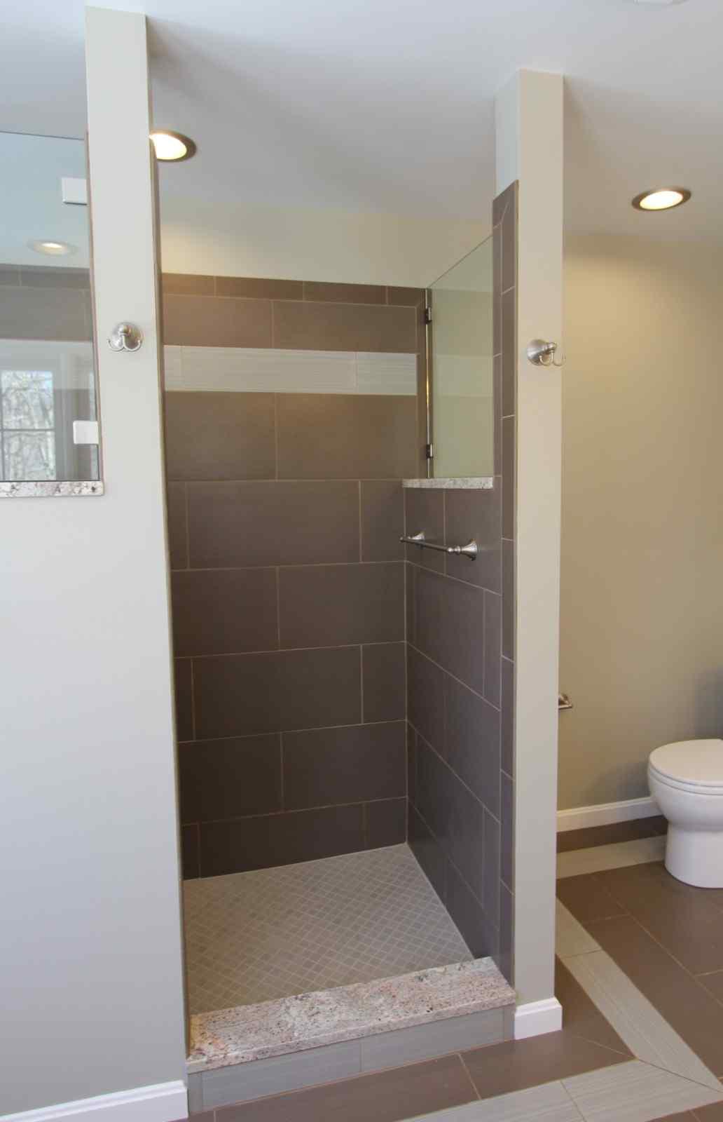 custom walk-in shower with frameless door