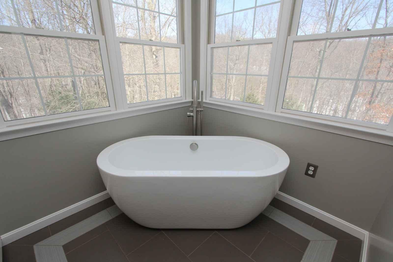 freestanding tub in remodeled bathroom