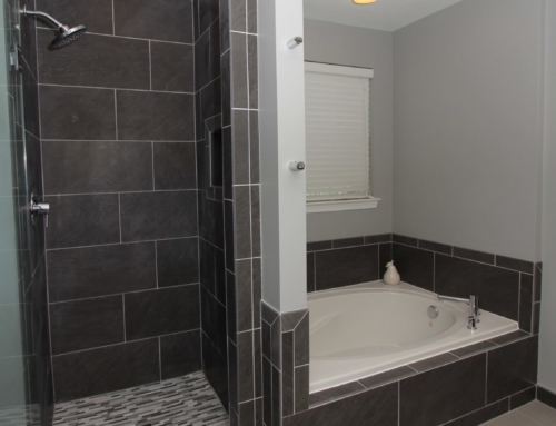 Bel Air Charcoal Glass Tiled Bathroom