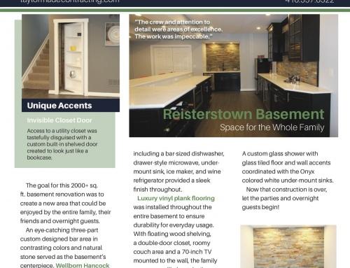 Reisterstown Basement Remodel – Spotlight In Our Print Newsletter