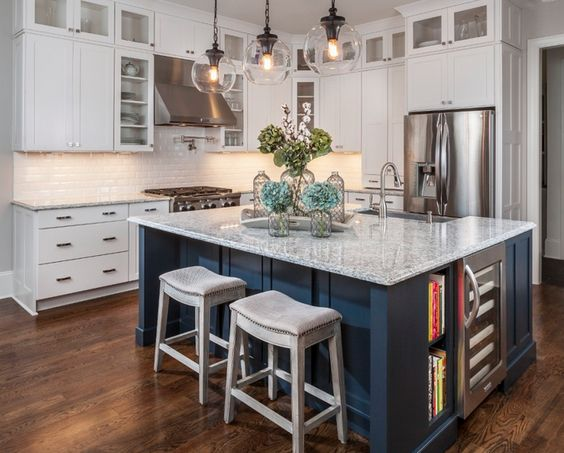 Gray Blue Contrasting Kitchen Island