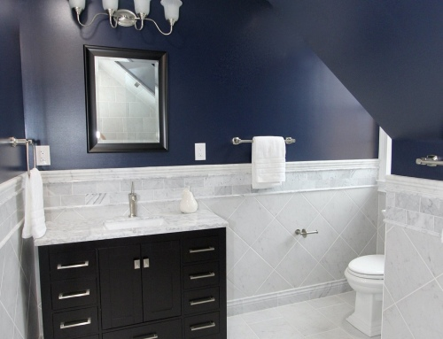 Monkton Navy & White Marble Bathroom