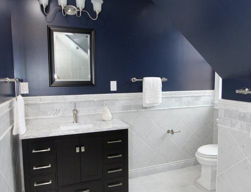 Monkton Navy & White Marble Bathroom